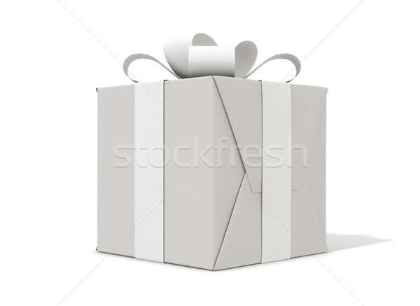 White On White Cube Gift Stock photo © albund