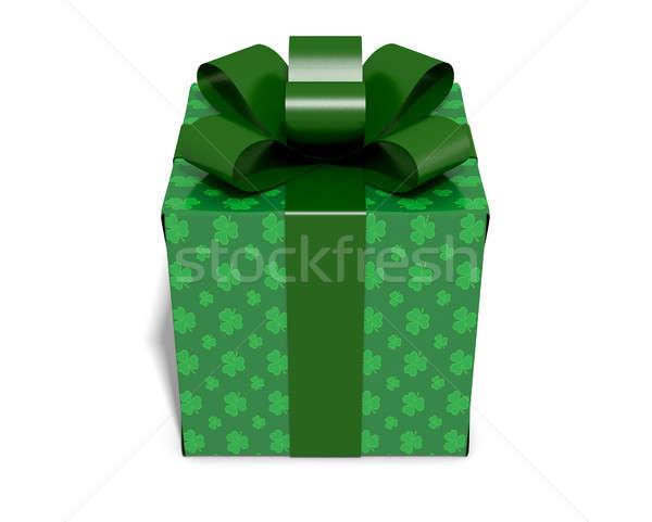 St Patrick's Day kubus geschenk klaver inpakpapier Stockfoto © albund