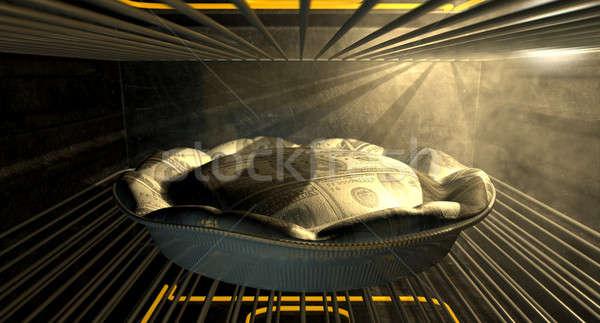 US Dollar Money Pie Baking In The Oven Stock photo © albund