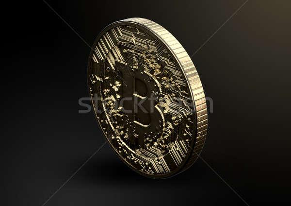 Bitcoin tonen gouden digitale valuta munt Stockfoto © albund