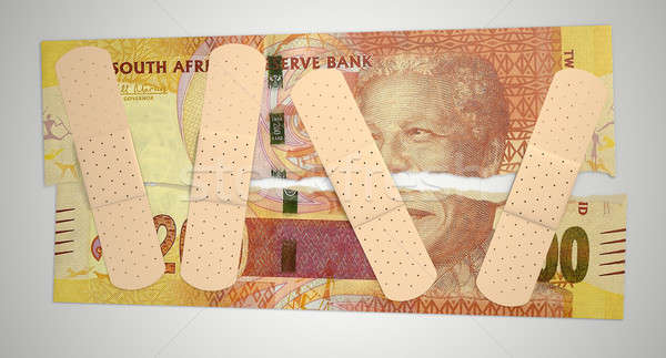 Nursed Torn South African Rand Stock photo © albund
