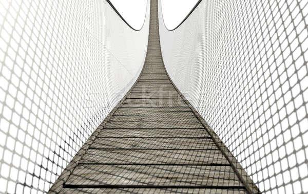 Rope Bridge On White Stock photo © albund