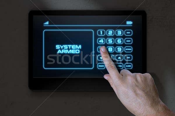 Hand moderne home veiligheid mannelijke Stockfoto © albund