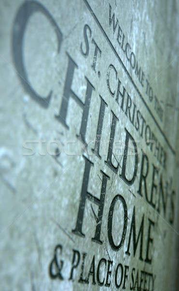 Feliratozás közelkép felirat 3d render gyerekek kő Stock fotó © albund