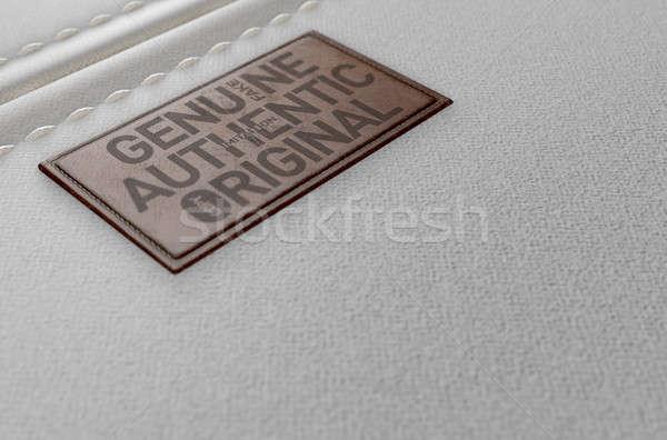 Vászon anyag bőr címke hamisítvány közelkép Stock fotó © albund