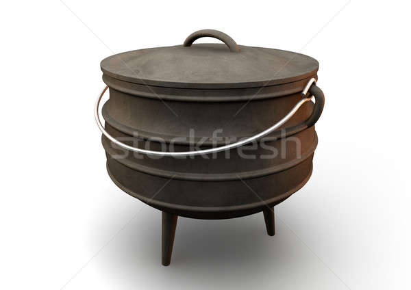 Dél-afrikai edény nézőpont rendszeres öntöttvas acél Stock fotó © albund