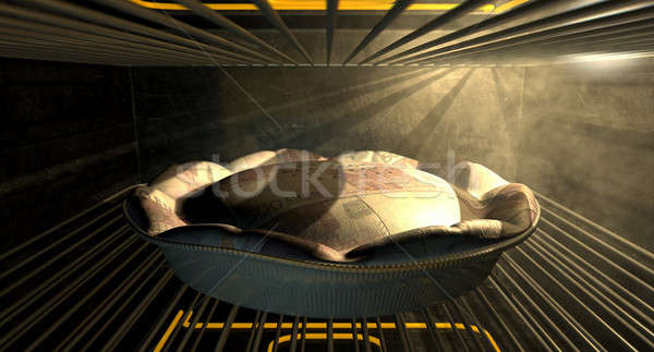 Euro Money Pie Baking In The Oven Stock photo © albund