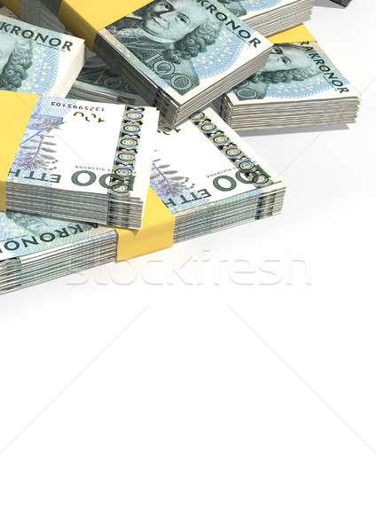 Swedish Krona Notes Scattered Pile Stock photo © albund