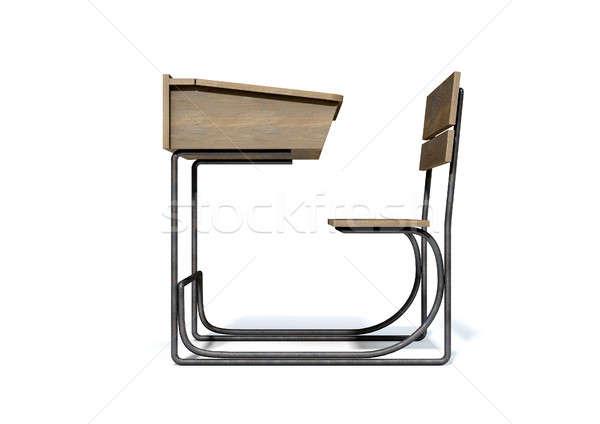 Vintage Wooden School Desk Stock photo © albund