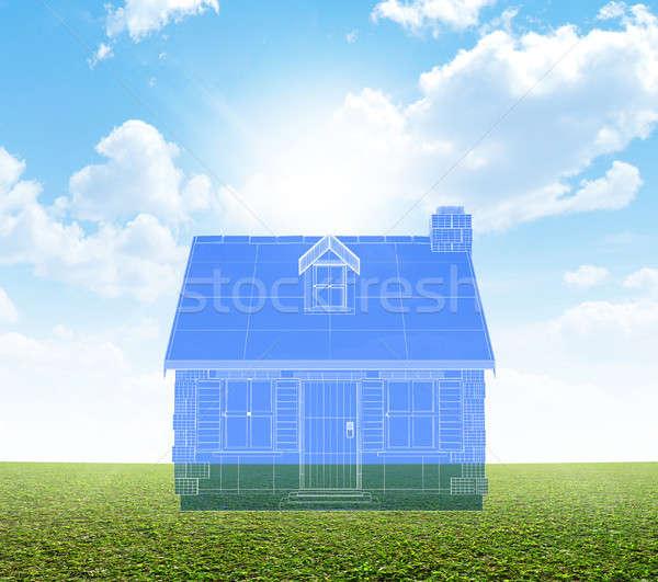 コテージ 青写真 緑 芝生 計画 石 ストックフォト © albund