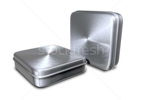 Brushed Metal Tins Stock photo © albund