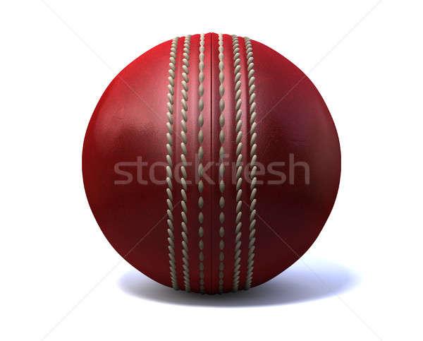 Foto stock: Cricket · pelota · frente · rojo · cuero · aislado
