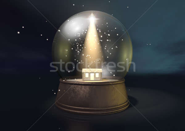 Snow Globe Nativity Scene Night Stock photo © albund