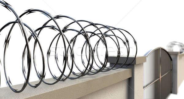 Gates And Wall With Razor Wire Stock photo © albund
