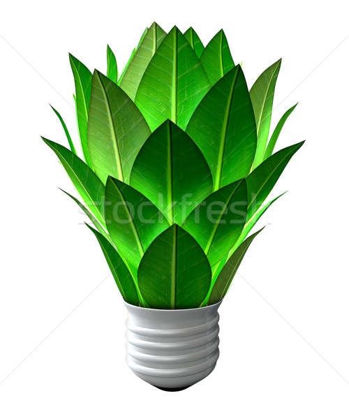 Groene energie gloeilamp collectie bladeren zoals Stockfoto © albund