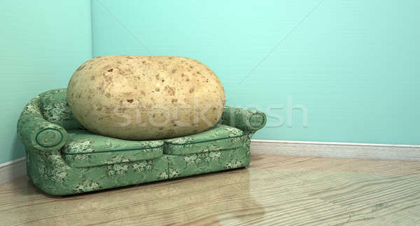 Stock photo: Couch Potato On Old Sofa