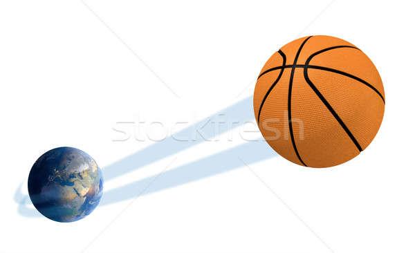 Aarde bal geïsoleerd tonen regelmatig basketbal Stockfoto © albund