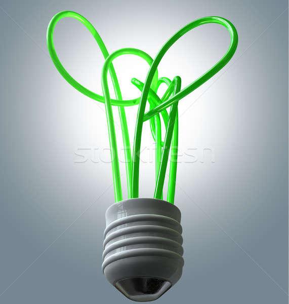 Villanykörte zöld energia gyűjtemény zöld csövek fa Stock fotó © albund