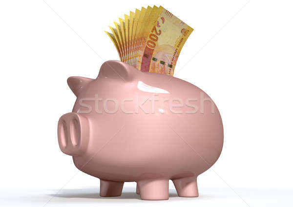 Piggy Bank Saving South African Rands Stock photo © albund