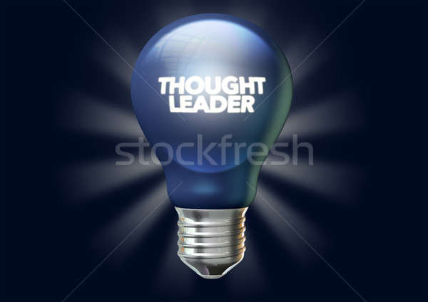 A regular blue light bulb with the phrase thought leadership illuminated on it on an isolated dark b Stock photo © albund