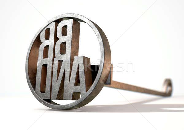 Ferro marca metal bovini parola Foto d'archivio © albund