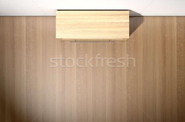 Lege kamer houten kabinet huis witte muren Stockfoto © albund