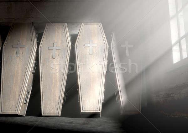 Caixão quarto parede luz Foto stock © albund