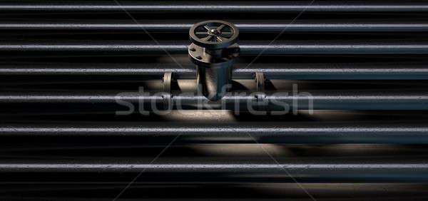 Metal Shutoff Valve And Pipes Stock photo © albund