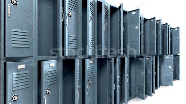 School Lockers Ransacked Perspective Stock photo © albund
