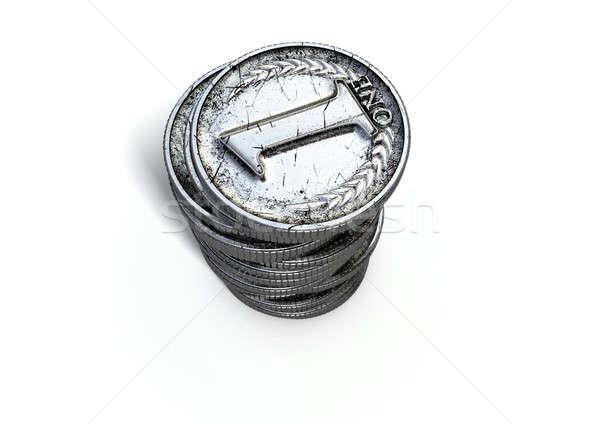 érme legelső boglya közelkép antik ezüst Stock fotó © albund
