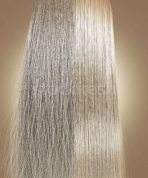 Blonde Hair Frizzy and Straight Comparison Stock photo © albund