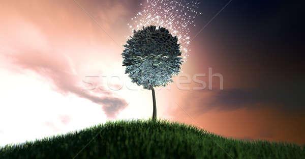Magisch pond gestileerde boom bladeren Stockfoto © albund