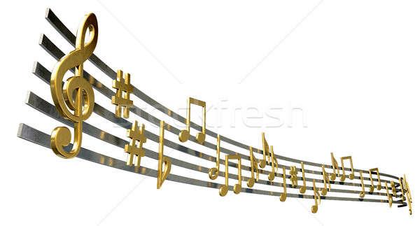 Gold Music Notes On Wavy Lines Stock photo © albund