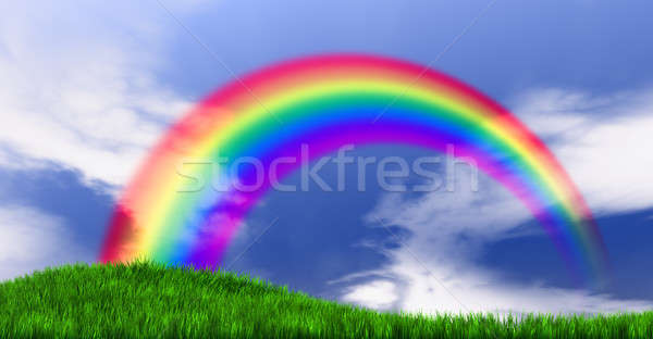 Rainbow herbeux colline vert ciel bleu Photo stock © albund