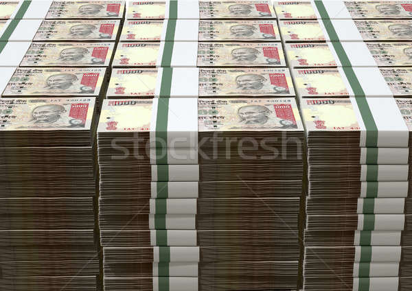 Stock photo: Rupee Notes Pile