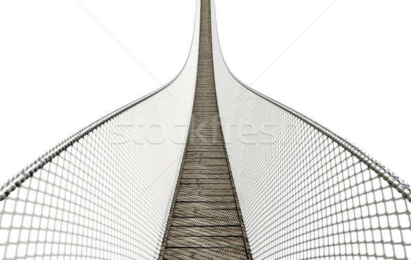 Сток-фото: веревку · моста · белый · доски · проволоки