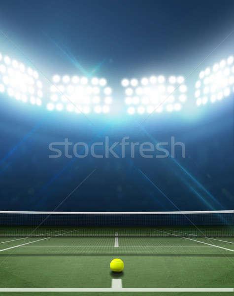 Stadion tennisbaan arena groene oppervlak nacht Stockfoto © albund