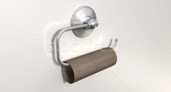 Lege toilet rollen chroom hanger toiletpapier Stockfoto © albund