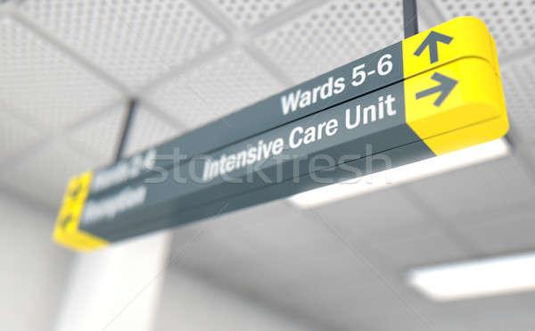 Szpitala podpisania intensywny opieki jednostka sufit Zdjęcia stock © albund