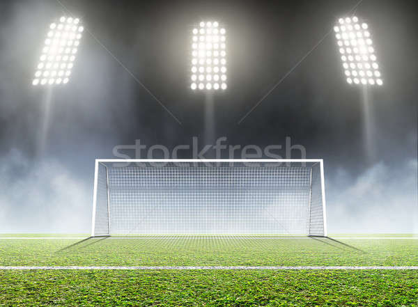 Sport stade football objectifs herbe verte Photo stock © albund