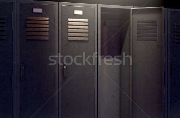 Locker Row And Open Door Stock photo © albund