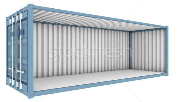 Szállítás konténer zsakett kék egész oldal Stock fotó © albund