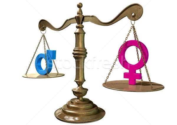 Nem egyenlőség egyensúlyoz mérleg arany igazság Stock fotó © albund
