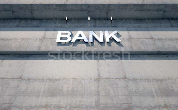 Modern bank épület feliratozás 3d render lézer Stock fotó © albund