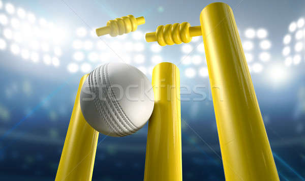 Cricket Wickets And Ball In A Stadium Stock photo © albund