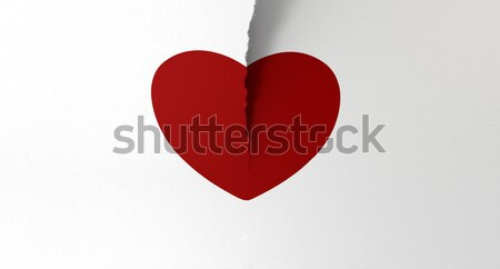 Drawn Red Heart Torn In Two Stock photo © albund