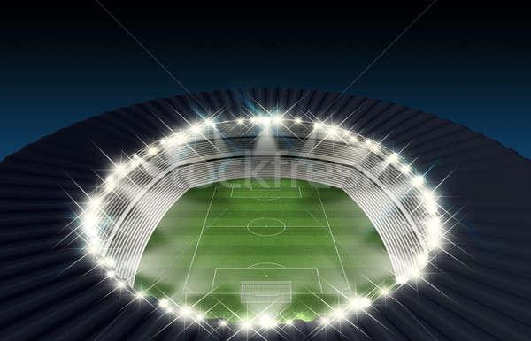 サッカー スタジアム 1泊 緑の草 ピッチ ストックフォト © albund