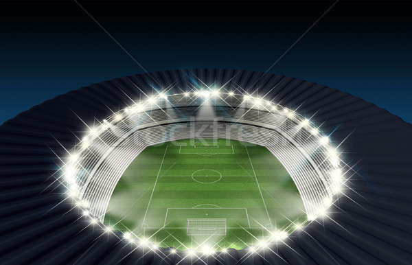 Voetbal stadion nacht doelen groen gras toonhoogte Stockfoto © albund