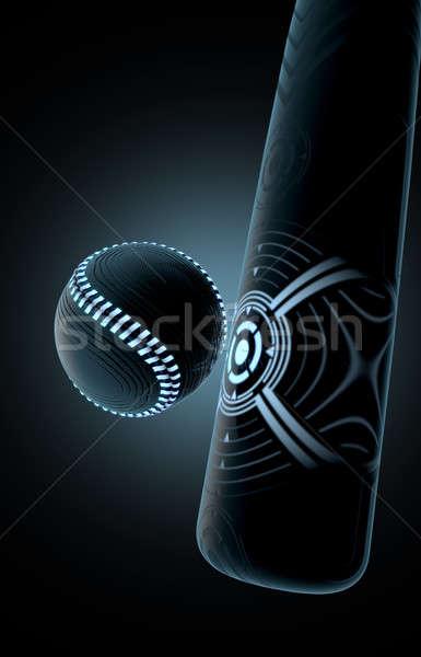 Futuristic Bat Striking Ball Stock photo © albund