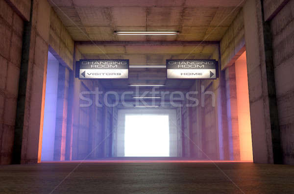 Photo stock: Sport · tunnel · concurrent · changement · chambres · regardant · vers · le · bas
